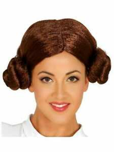 Ladies Star War Leia Space Princess Fancy Dress Bun Wig Cosplay New
