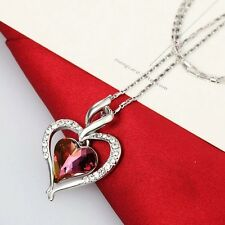 New Rhodium Plated Purple Austria Crystal Heart Love Chain Necklace Pendant Gift