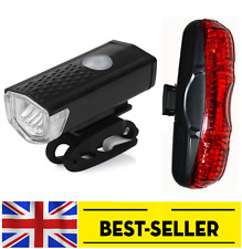 front USB led + rear 5 led long shape light set - bright lights flash bike UK