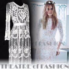 Vestido de Boda de Encaje Diosa Vintage 10 12 14 16 Boho Victoriano 20s 30s Vamp Raro