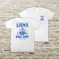 LIONS DRAG STRIP RETRO AUTO DRAG RACE RACING HOT RAT ROD WHITE OR BLACK T-SHIRT