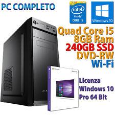 PC COMPUTER DESKTOP INTEL CORE i5-3470 RAM 8GB SSD 240GB DVD-RW WI-FI WINDOWS 10