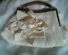 3 x Ivory Off-White Satin Shine Evening Bag Purse Handbag Clutch Wedding Deb