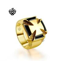 Gold black cross bikies ring solid stainless steel band soft gothic