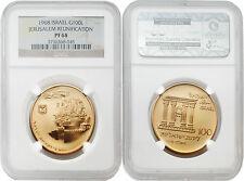 Israel 1968 Jerusalem Reunification 100 Lrt Gold Proof Coin NGC PF 68