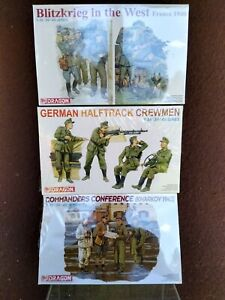 Lot Of 3 Dragon Models 1/35 German WWII Figure Sets 6144, 6193, 6347