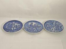 Set of THREE Wedgwood Character Plates Farmer Pedlar Game Keeper Blue & White