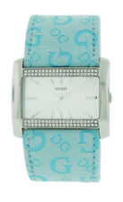 Guess 85485L2 Women's Rectangular Silver Tone Swarovski Light Blue G Logo Watch