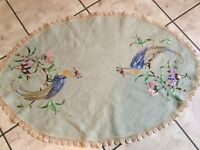 Vintage table runner~dresser scarf with embroidered tropical birds & lace edges