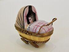 Limoges Peint Main Rochard Baby Buggy Pram Stroller Carriage Trinket Box