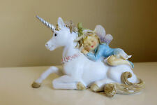 Woodland Fairy Sleeping on Unicorn Village Resin New 4 in. x 2.5 in. Fantasy