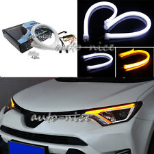 2X Flexible 60cm Daul Color Sequential LED Light Strip Headlight DRL Turn Signal