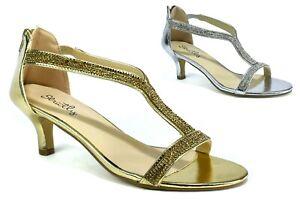 New Diamante Bridal Evening Prom Low Kitten Heel Slip On Back Zip Cuff Sandal UK