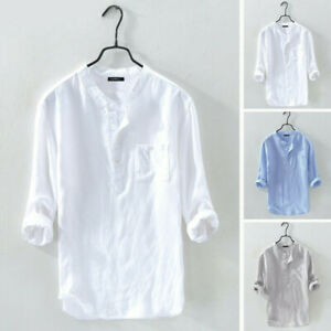 Mens Casual Long Sleeve Cotton Linen Blouse Loose Henley V-Neck Tops T Shirts