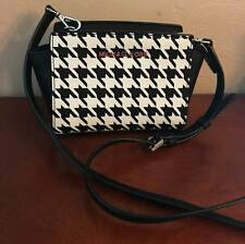 MICHAEL KORS SELMA MINI MESSENGER CROSSBODY SHOULDER BAG BLACK WHITE LEATHER