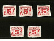 Canada #J32a X (5) (CA254) Postage Due DF paper, Dex Gum, MNH,FVF,CV$100.00