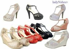NEW Bridal  Mesh High Heel Wedge Platform Buckle Women's  Shoes Size 5 - 10 NEW