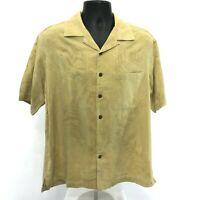 Caribbean Loop Collar Button Front Shirt Mens Size M Medium Yellow Short Sleeve