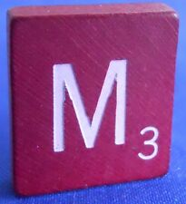 Scrabble Tiles Replacement Letter M Maroon Burgundy Wooden Craft Game Part Piece