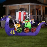 12 FT x 7.5 FT Halloween Giant Animated Viking Ship Gemmy Airblown Inflatable