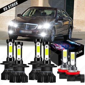 For Mercedes-Benz E350 E320 E550 -6x 6000K LED Headlight + Fog Light Bulbs Kit