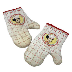Vintage Disney Store Mickey Mouse Oven Mitts Gloves Cooking Kitchen 90s 00s