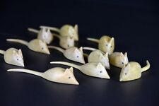 Wooden MICE - 10 pcs - hand carved wood MOUSE - house mouse - field mouse