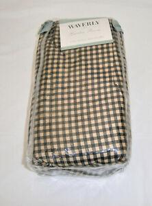NWT WAVERLY Garden Room Black & Tan Gingham Check CAL KING Bed Skirt