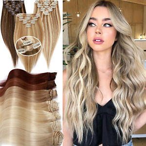 Full Head Double Weft Clip In HUMAN Hair Extensions 100% Remy Hair 8Pcs THICK US