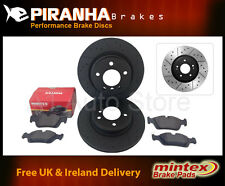 Volvo S40 2.0D4 10- Front Brake Discs Pads Coated Black Dimpled Grooved Piranha