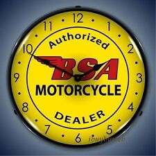 Retro Nostalgic BSA Motorcycles Game Room Man Cave Lighted Wall Clock NEW