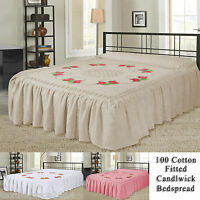 Luxury 100% Cotton Candlewick Fitted Traditional Bedspread Single Double King SK