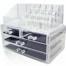 Clear Acrylic Cosmetics Organizer 4 Drawers with 16 Compartments Top Section