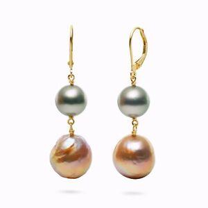 Gray Tahitian Saltwater Pearl&Kasumi Pearl Dangle Earrings 18k Yellow Gold,1.6''