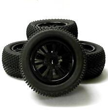 810016 1/8 Scale Off Road RC Monster Truck 6 Double Spoke Wheel Tyres x 4 Black