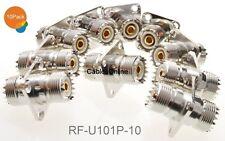 10-Pack UHF SO239 Female to Female 4-Hole Panel Mount Coupler, RF-U101P-10