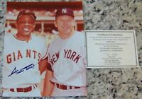 Willie Mays with Mickey Mantle Signed Photo ScoreBoard COA PSA JSA BAS Guarantee