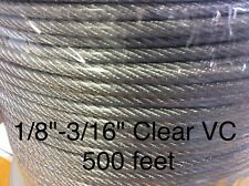 "Vinyl Coated Steel Aircraft Cable Wire Rope 500' 1/8"" VC 3/16"" 7x7 Clear"