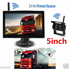 """Wireless 24V 12V CCD IR Camera 5"""" Monitor Reversing Parking Caravan Car Truck"""
