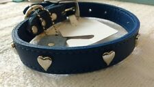 "Mirage Dark Blue Sweet Heart Leather Dog Collar 16"" long s/m 12-14""  neck size"