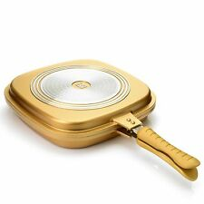 Cook's Companion Cast Aluminum Ceramic Nonstick Triple Flip Pan Gold