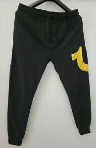 True Religion Men's Gold Logo Black Sweatpants Joggers Loungewear Size L Large