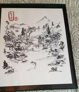 "Asian Oriental Art Original Brush Painting 11 1/2""x 9 ""signed, framed 13"" x 10"""