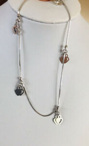 18K Solid White Gold Dangle Heart Fine Anklet 3.25Grams9Inches (399$)