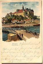 21615 AK Meissen Albrechtsburg Brücke Elbe Kähne Passanten Pferde um 1910