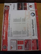 28/10/2013 Sheffield United U21 V Birmingham City U21 (singolo foglio). qualsiasi difetto