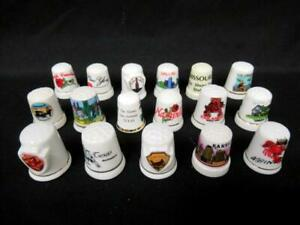 Lot of 17 Porcelain Travel Souvenir Thimbles White Cities USA Landmarks