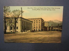 Old Vintage c.1910 Colorado Springs - COLO POSTCARD - Post Office Pikes Peak Ave