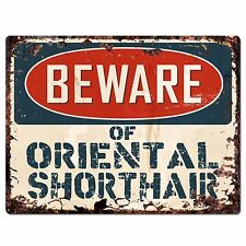 Pp1576 Beware of Oriental Shorthair Plate Rustic Chic Sign Home Store Decor Gift