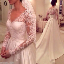 Hot sell !!! New White/ivory Long sleeves Wedding Dress Bridal Gown Custom size